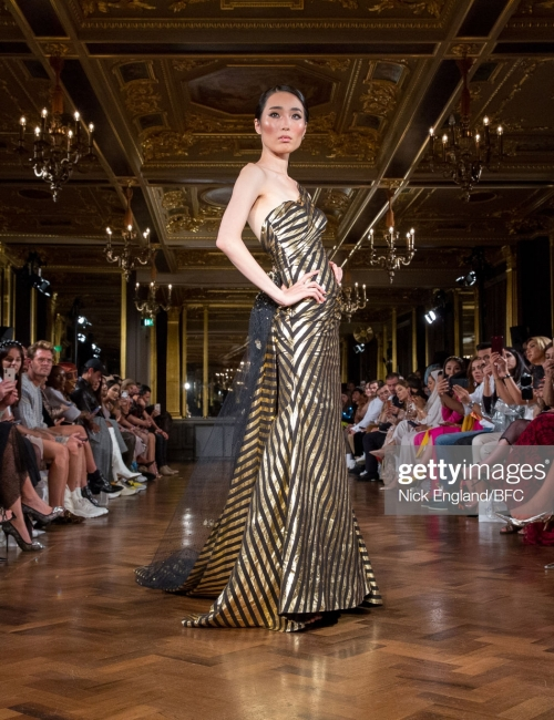 LONDON, ENGLAND - SEPTEMBER 14: Noura Al Abdullah exhibits her collection during the Stories from Arabia Show at London Fashion Week September 2019 at Hotel Cafe Royal on September 14, 2019 in London, England. (Photo by Nick England/BFC/Getty Images for BFC )