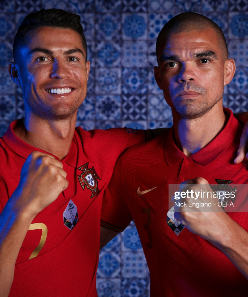 BUDAPEST, HUNGARY - JUNE 11: Cristiano Ronaldo and Pepe of Portugal poses for a photo during the official UEFA Euro 2020 media access day on June 11, 2021 in Budapest, Hungary. (Photo by Nick England - UEFA/UEFA via Getty Images)